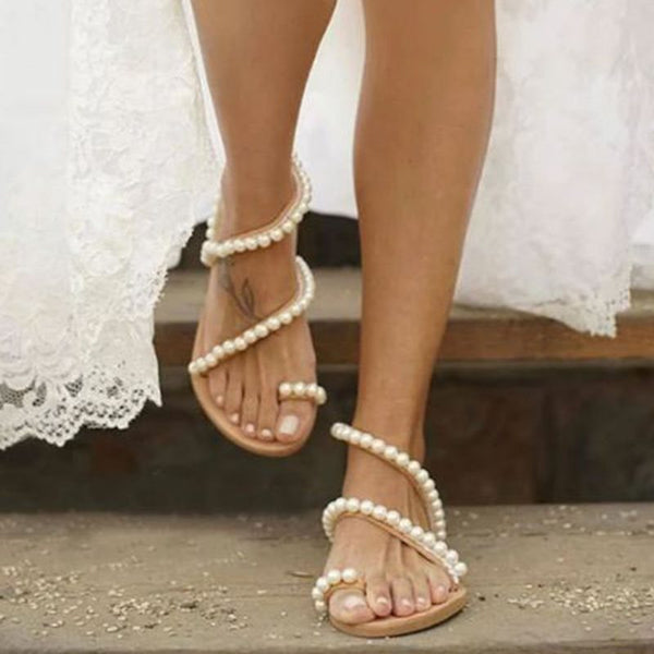 Flat With Toe Ring Slip-On Beads Low-Cut Upper Sandals