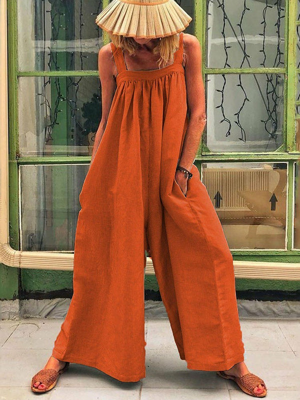 Full Length Strap Travel Look Loose High Waist Jumpsuit