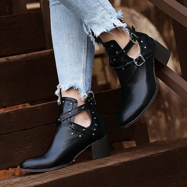 Plain Back Zip Round Toe Casual Buckle Boots