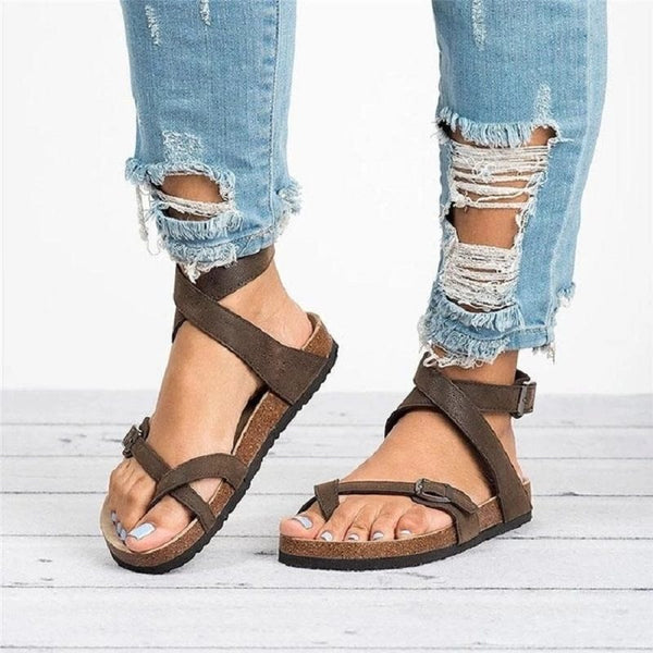 Buckle Round Toe Strappy Sandals