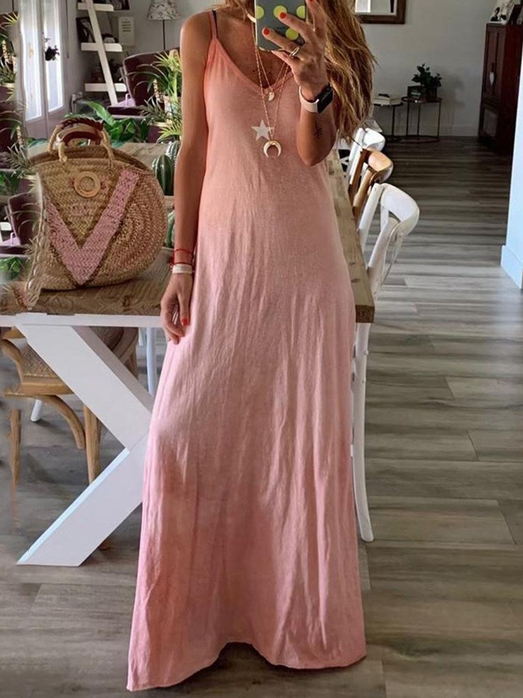 V-Neck Floor-Length Sleeveless A-Line Pullover Dress