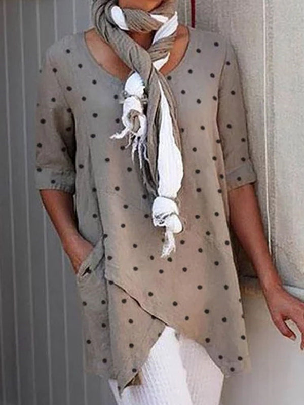 Half Sleeve Mid-Length Polka Dots Casual Straight T-Shirt