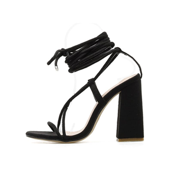 Lace-Up Chunky Heel Open Toe Strappy Plain Western Sandals