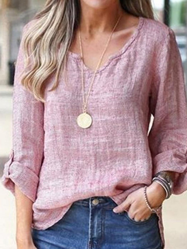 Standard Plain V-Neck Loose Casual T-Shirt