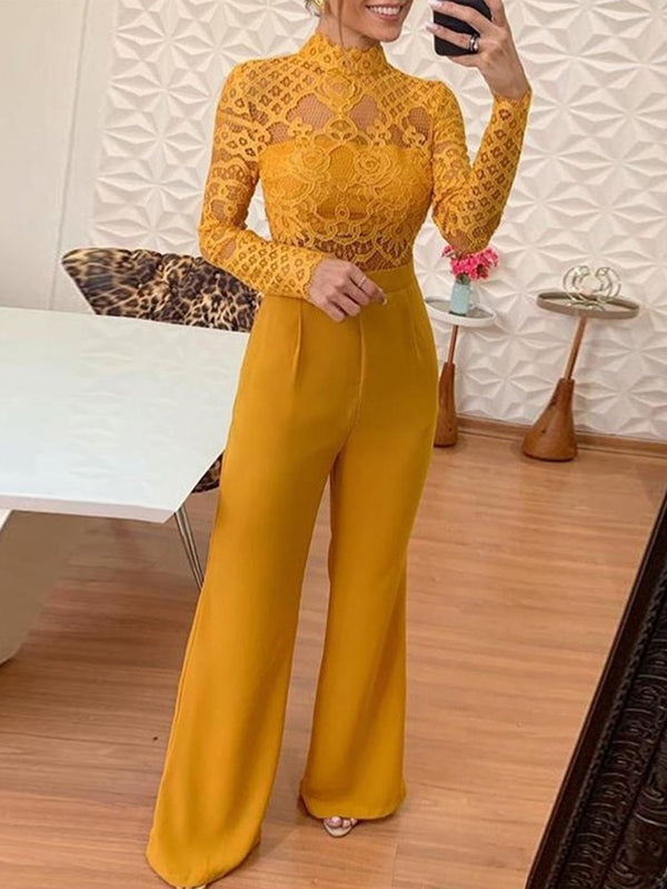 Hollow Geometric Full Length Bellbottoms Slim Jumpsuit