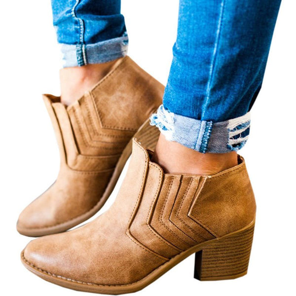 Round Toe Plain Chunky Heel Slip-On Casual Western Boots