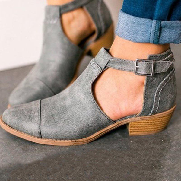 Chunky Heel Plain Pointed Toe Hasp PU Casual Boots
