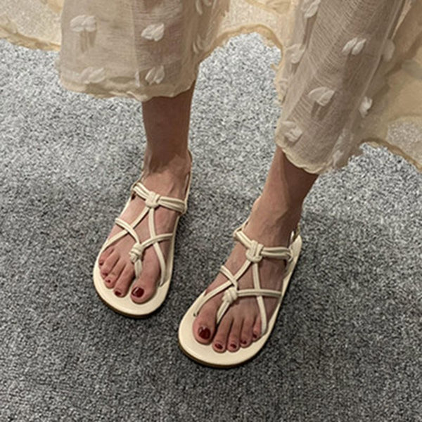 Strappy Thong Buckle Flat With Casual Plain Sandals