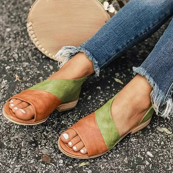 Heel Covering Slip-On Block Heel Open Toe Western Color Block Sandals