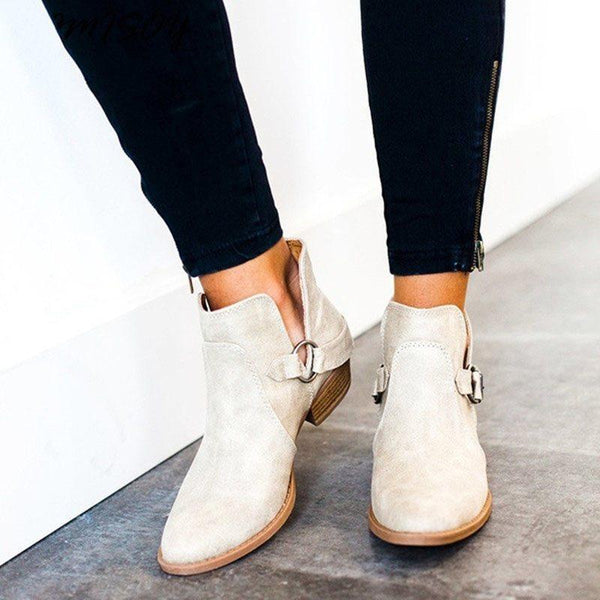 Round Toe Block Heel Slip-On Plain Thread Western Boots
