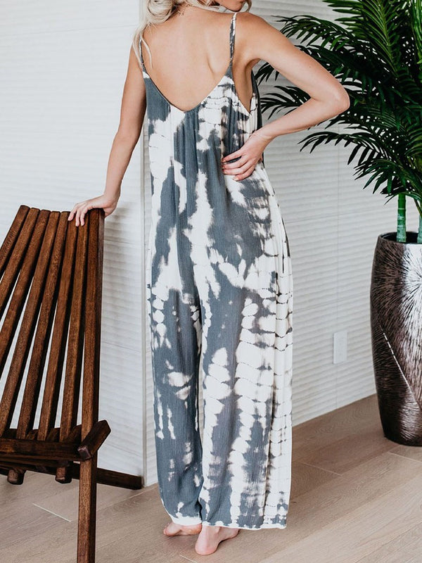 Full Length Western Color Block Mid Waist Loose Jumpsuit