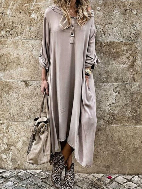 Ankle-Length Asymmetric Three-Quarter Sleeve Plain Asymmetrical Dress