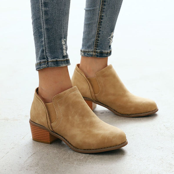 Block Heel Slip-On Round Toe Plain PU Thread Boots