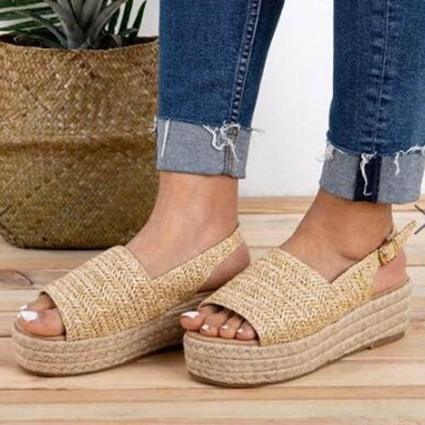 Buckle Open Toe Slingback Strap Buckle Casual Sandals
