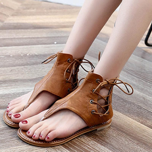 Block Heel Zipper Thong Vintage Casual Sandals