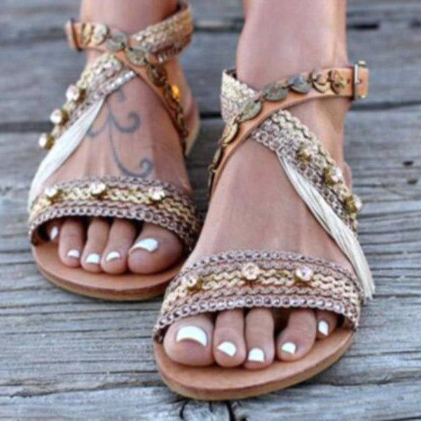 Thong Buckle Thread Patchwork Sandals