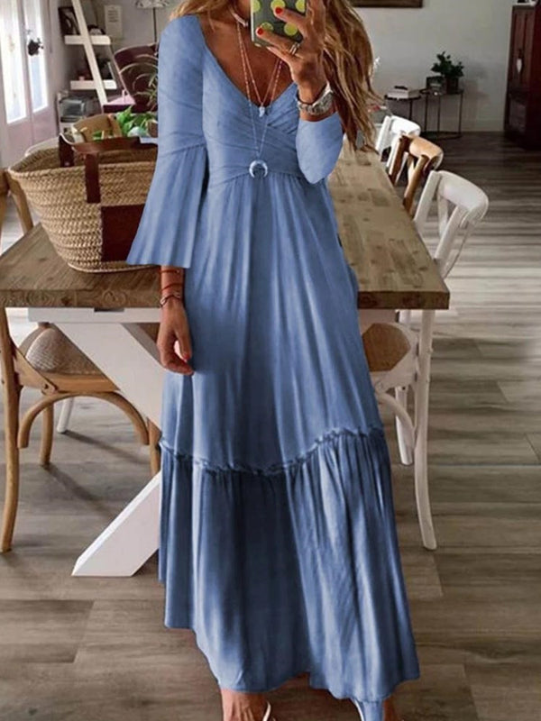 Three-Quarter Sleeve V-Neck Floor-Length Flare Sleeve Plain Dress
