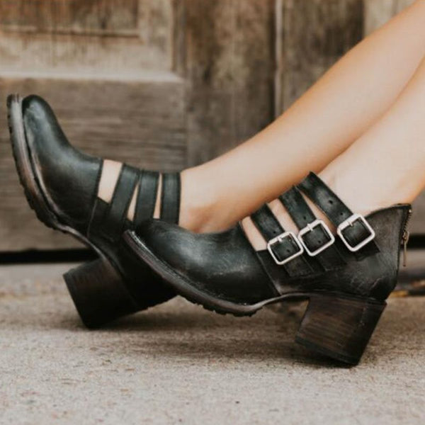 Chunky Heel Buckle Round Toe Zipper Western Plain Thin Shoes