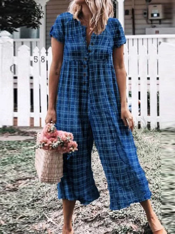Ankle Length Plaid Casual Loose Wide Legs Jumpsuit