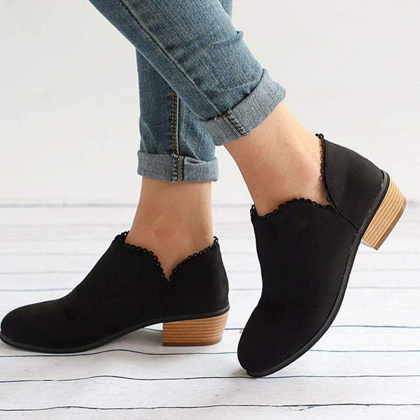 Block Heel Round Toe Plain Slip-On Thread Western Boots