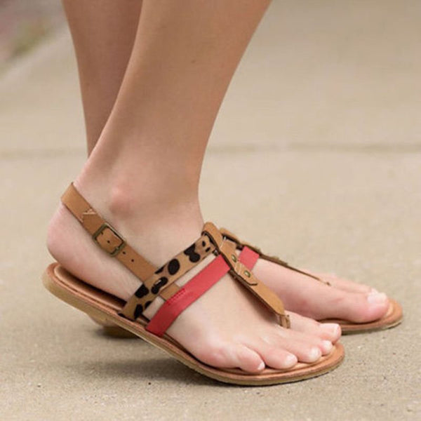 Buckle Thong Casual Color Block Sandals