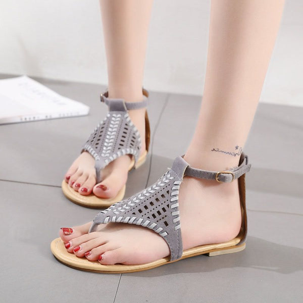 Block Heel Thong T-Shaped Buckle Casual Thread Sandals