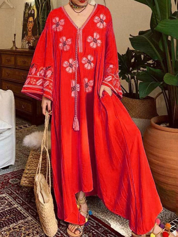 Print V-Neck Floor-Length Pullover Flare Sleeve Dress