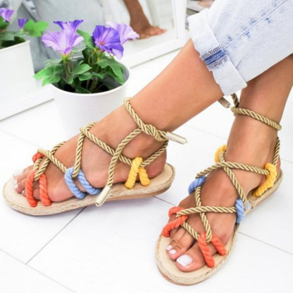 Open Toe Strappy Lace-Up Flat With Casual Casual Sandals