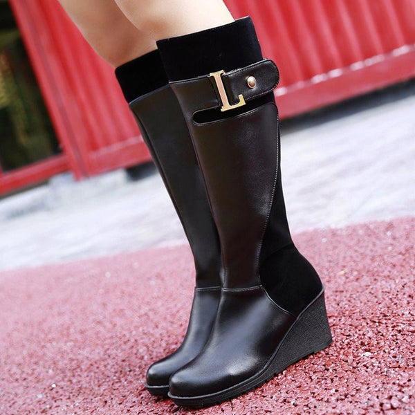 Wedge Heel Round Toe Side Zipper Patchwork Short Floss Casual Boots