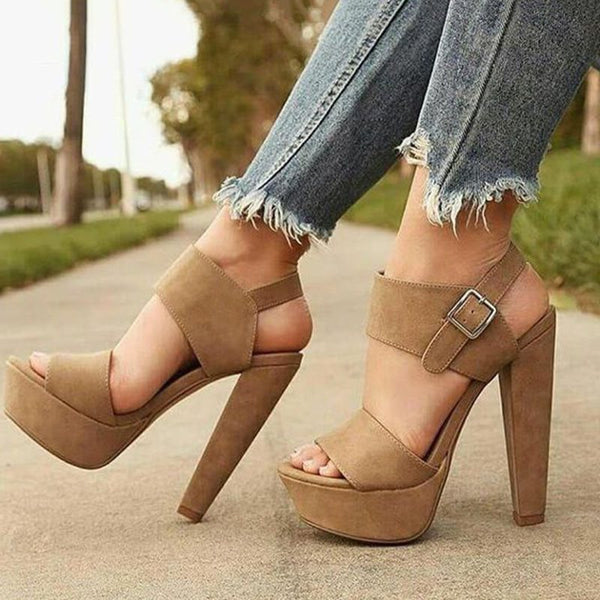 Chunky Heel Ankle Strap Buckle Open Toe Plain Casual Sandals