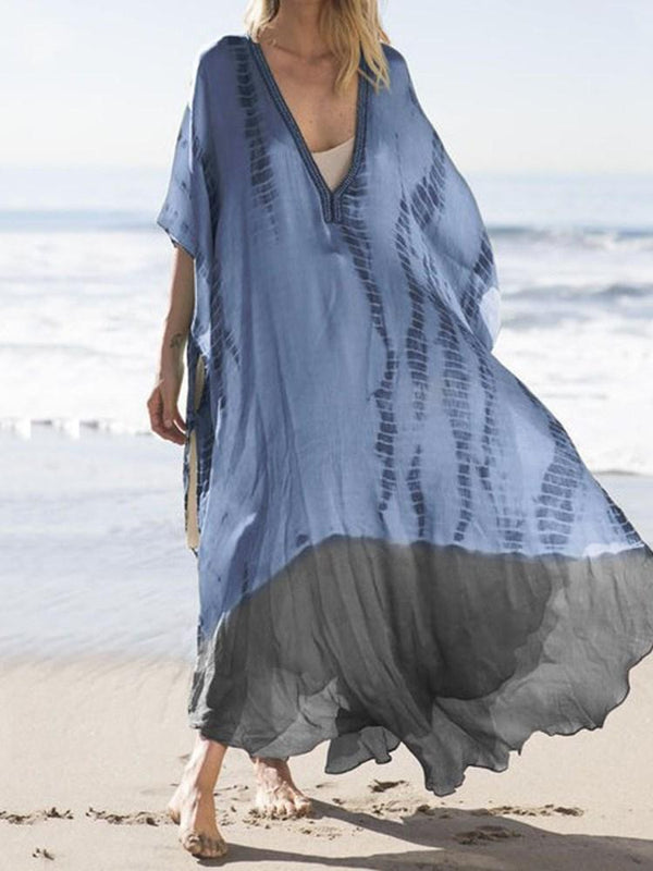 Patchwork V-Neck Half Sleeve Color Block Beach Dress