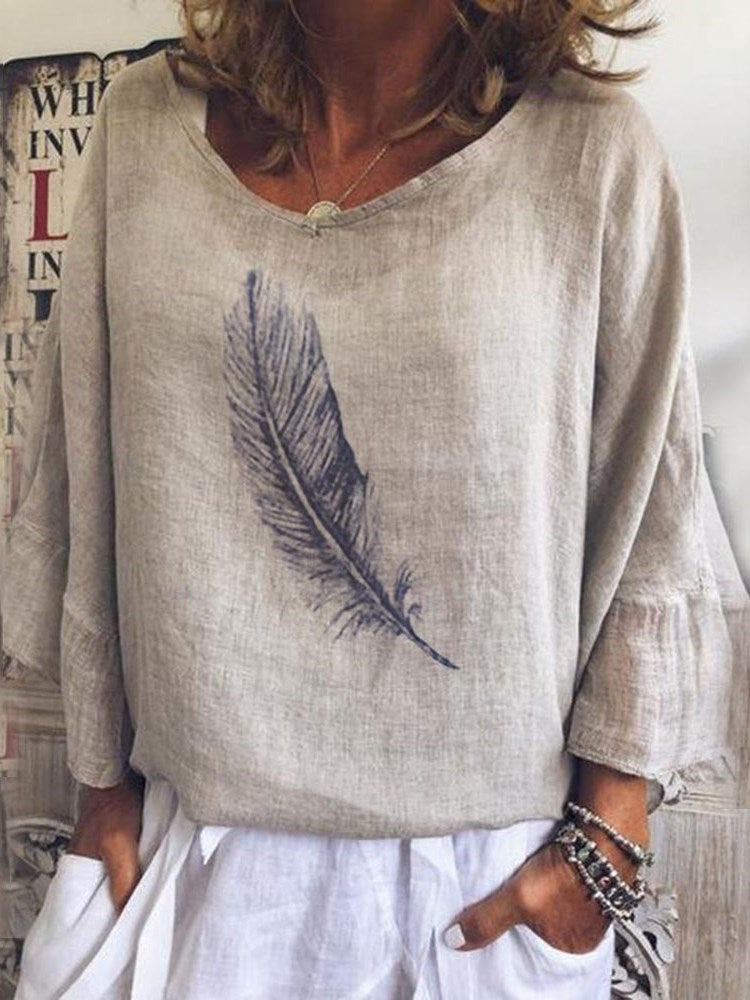 Print Flare Sleeve Round Neck Nine Points Sleeve Standard Blouse