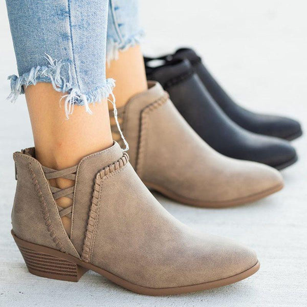 Round Toe Plain Back Zip Casual Western Boots