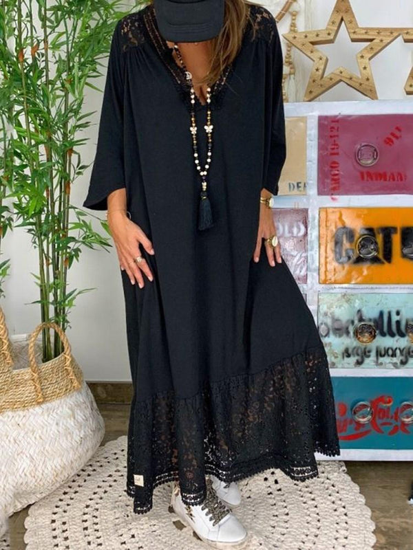 Three-Quarter Sleeve Lace V-Neck Plain Pullover Dress