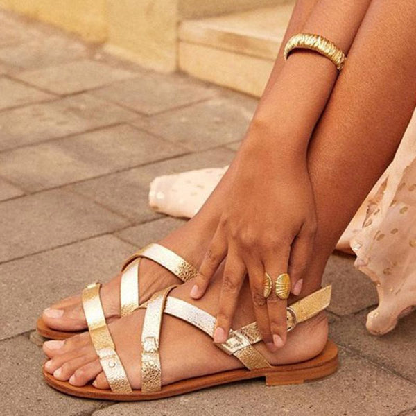 Block Heel Buckle Slingback Strap Round Toe Buckle Casual Sandals