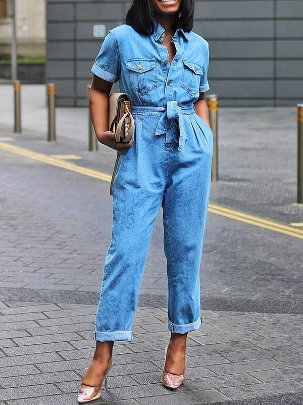 Lace-Up Full Length Plain Slim Straight Jumpsuit