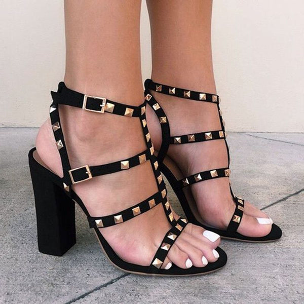 Buckle Open Toe Chunky Heel Casual Plain Sandals