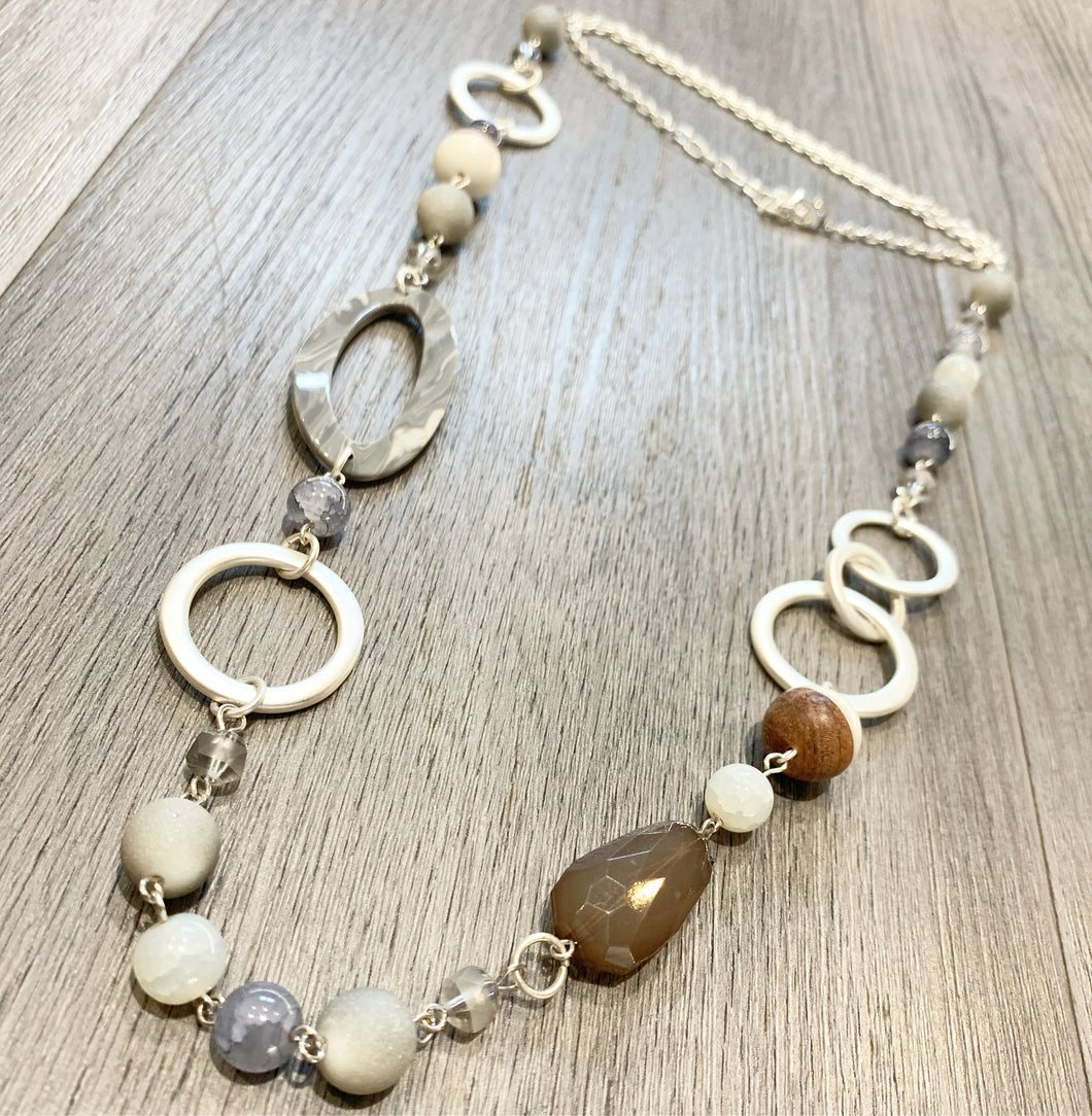 Long statement necklace with grey and natural stone detail