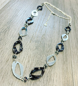 Black and silver long statement necklace