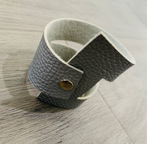 Silver geometric leather bracelet