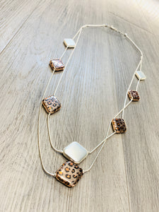 Gold leopard print long chained necklace