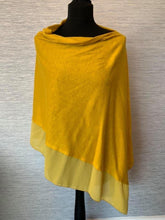 Load image into Gallery viewer, Mustard/Yellow Lightweight Poncho with Chiffon Edge