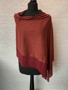 Burgundy Lightweight Poncho with Chiffon Edge