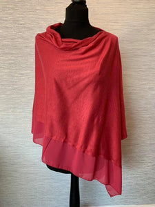 Maroon Red Lightweight Poncho with Chiffon Edge