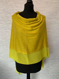 Olive/Lime Lightweight Poncho with Chiffon Edge