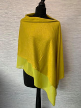Load image into Gallery viewer, Olive/Lime Lightweight Poncho with Chiffon Edge
