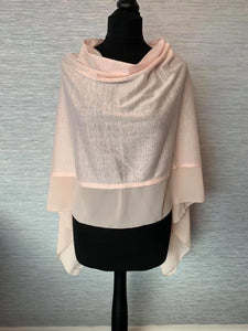 Peach Lightweight Poncho with Chiffon Edge