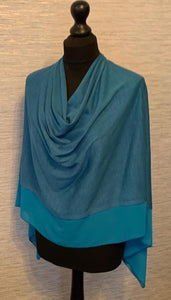 Tiffany Blue Lightweight Poncho with Chiffon Edge