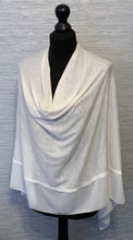 Load image into Gallery viewer, Ivory/White Lightweight Poncho with Chiffon Edge