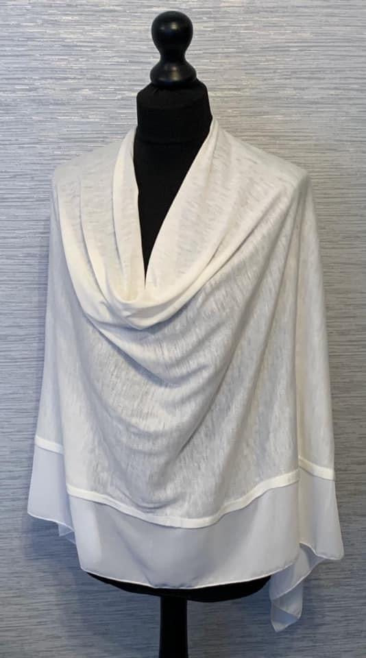 Ivory/White Lightweight Poncho with Chiffon Edge
